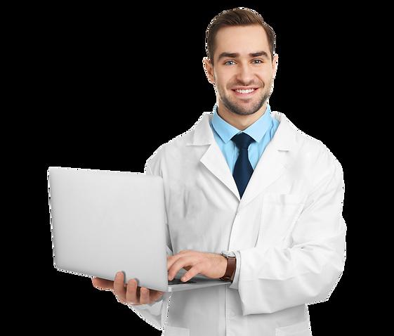 Dentista utilizando o software odontológico Clinicorp