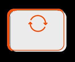 Flechas em formato de círculo representando o controle de retorno do sistema Clinicorp