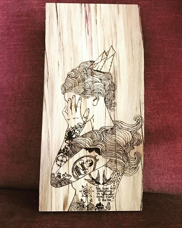 New one #sailor #tattoogirl #pyrography #woodworking #woodburning #woodbranding