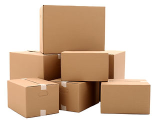 Cardboard boxes isolated over white back