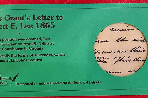 Ulysses Grant's Letter to Robert E Lee 1865