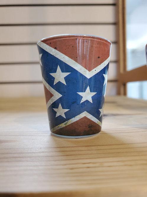 Rustic Battle Flag Shot Glass