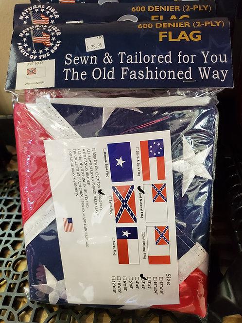 3x5 2nd Nat'l Confederate Flag 600-D