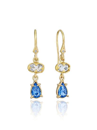 White & Blue Sapphire Drop Earrings