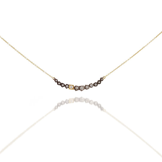 SS Diamond Rock Necklace with Gold Accent