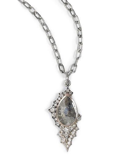 Double Scallop Grey Diamond Necklace