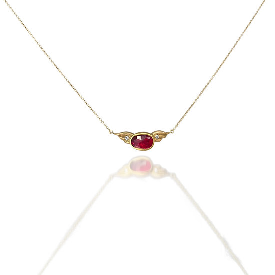 Ruby Wing Necklace