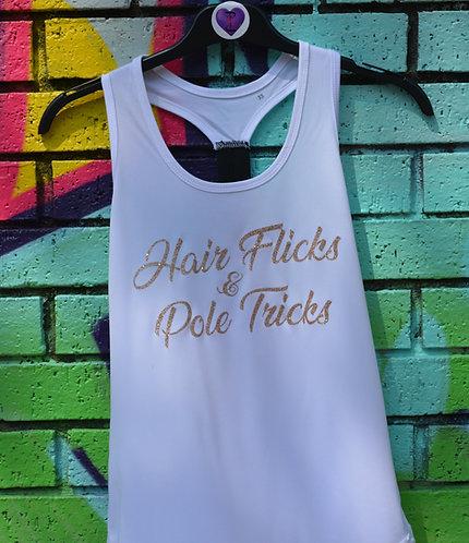 PSP - White Racer Back Vest - Hair Flicks & Pole Tricks - Rose Gold Glitter
