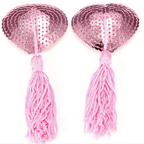 Pink Sequin Heart Nipple Tassel Pasties - 1 x Pair