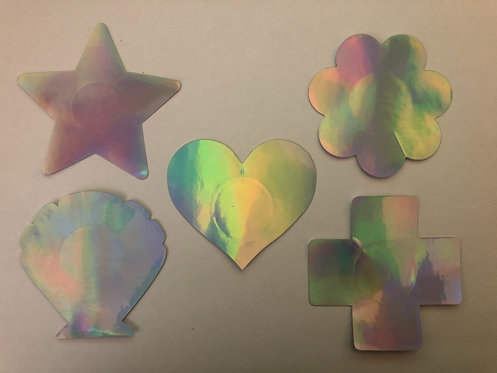 Iridescent Silver Shapes - 1 x Pair
