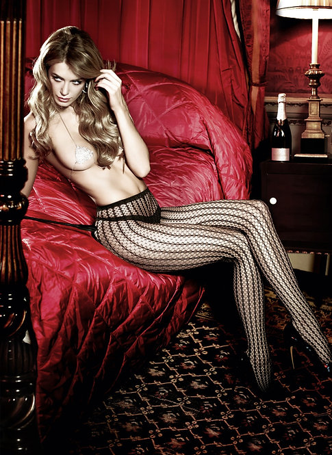 Baci - Afterdark Jacquard Striped Fishnet Tights