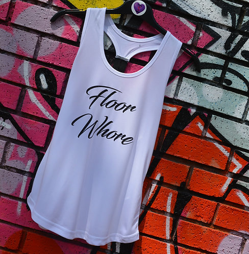 PSP - White Racer Back Vest - Black Glitter - Floor Whore