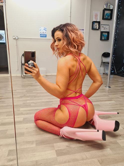 PSP - Rhinestone Studded Cerise Pink Fishnet Garter Tights