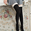 Black Over Knee Socks with Cotton Lace Frill Front view