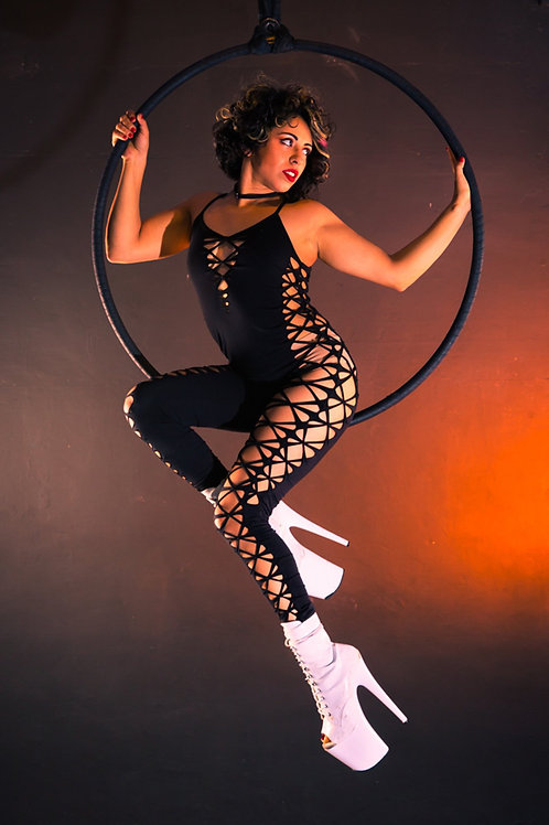 Aerial Hoop dancer Wearing Twisted Movement Chaos Catsuit in Black