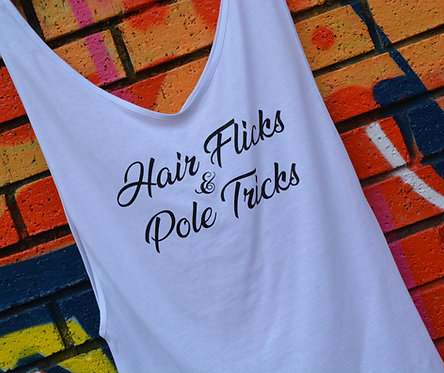 PSP - White Drop Side Vest - Hair Flicks & Pole Tricks - Black Glitter