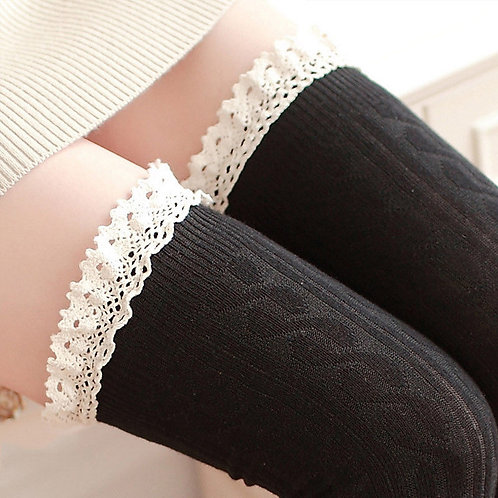 Black Over Knee Socks with Cotton Lace Frill close up