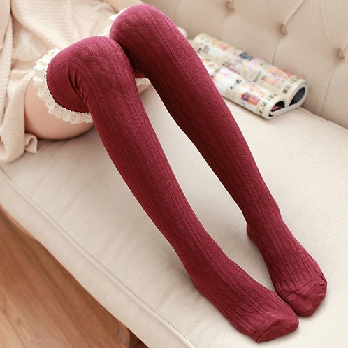 Wine Over Knee Socks with Cotton Lace Frill by Pole Sweet Pole