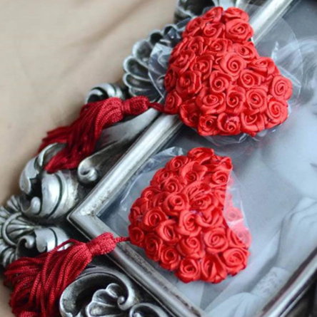 Rose Heart Nipple Tassel Pasties - 1 x Pair