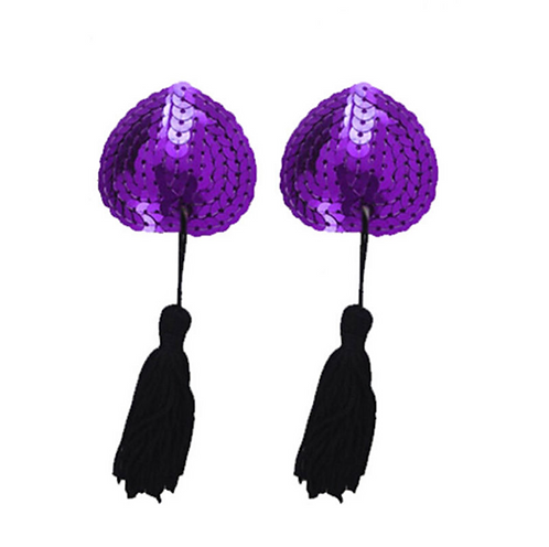 Purple Sequin Heart Nipple Tassel Pasties - 1 x Pair