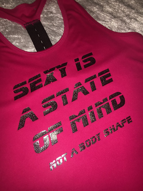 PSP - Hot Pink Racer Back Vest - Sexy is a State of Mind, Not a Body Shape