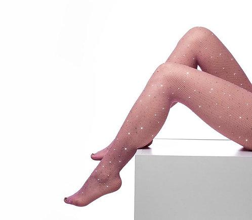 PSP - Rhinestone Studded Baby Pink Fishnet Garter Tights