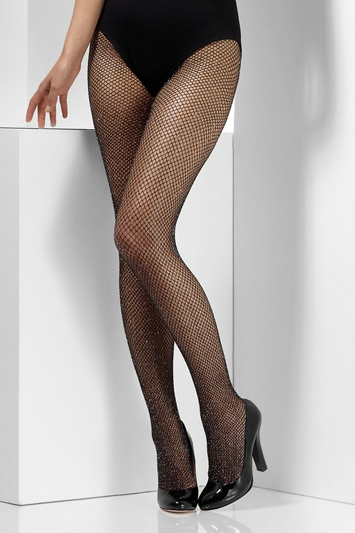 Fever - Sparkle Fishnet Tights - Black with Silver Sparkle
