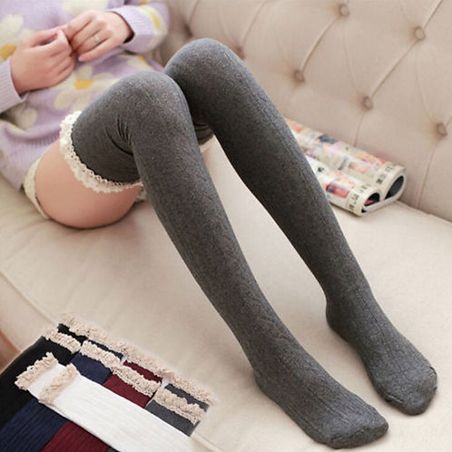 Grey Over Knee Socks with Cotton Lace Frill by Pole Sweet Pole