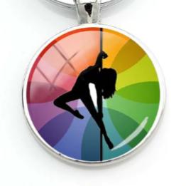 PSP - Rainbow Overlay - Pole Dancer Heart Key Ring