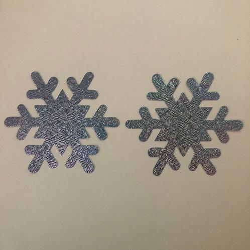 Blue Hologram Snowflake Nipple Pasties - 1 x Pair