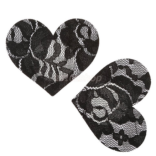 Black Lace Heart Nipple Pasties - 1 x Pair