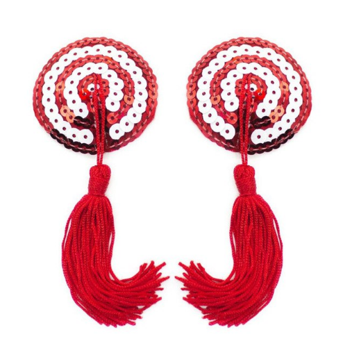 Candy Cane Circle Nipple Tassel Pasties - 1 x Pair