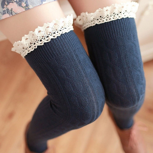 Navy Over Knee Socks with Cotton Lace Frill close up