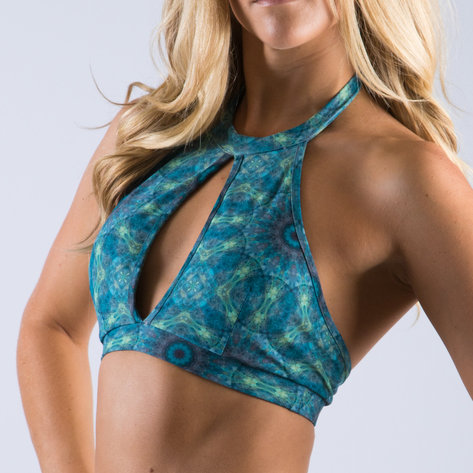 Vekker LA Kaleidoscope Print Keyhole Halter Top Close up