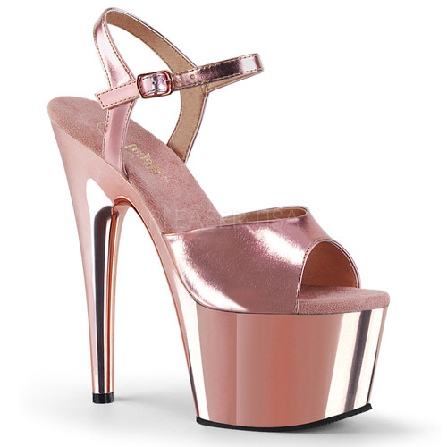 057aa9c2ba5a Pleaser Shoes Adore 709 Rose Gold Metallic   Chrome 7
