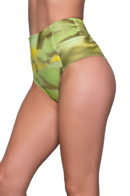 Vekker LA High Waisted Shorts Key Lime Pie Print Side View