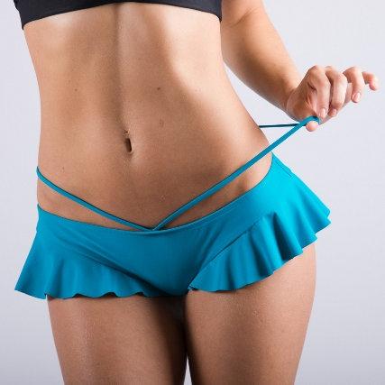 Vekker LA Teal Side Ruffle Pole Shorts Model Showing Hip Strap Detail
