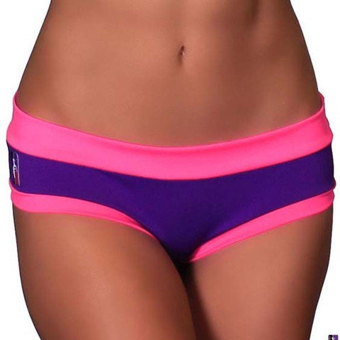 Purple & Hot Pink Colour Block Bad Kitty Brazil Shorts