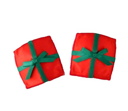 Christmas Nipple Pasties - Red Satin Presents with Green Bow
