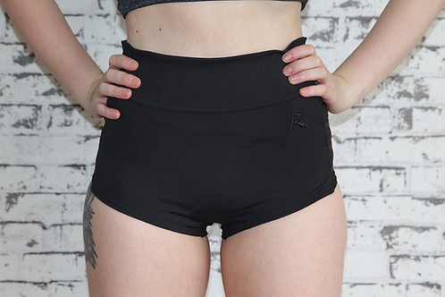 Rarr Designs Black Studio Mesh Highwaisted Shorts Front View