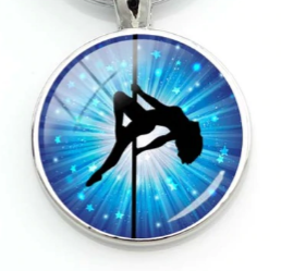 PSP - Blue Star Burst - Pole Dancer Heart Key Ring