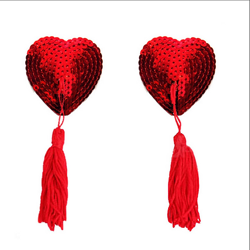 Sequin Heart Nipple Tassel Pasties - 1 x Pair