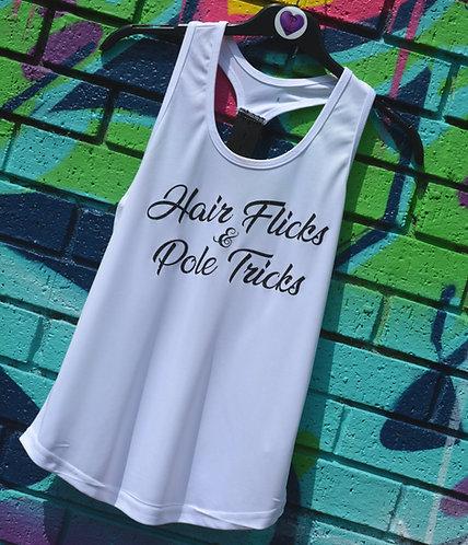 PSP - White Racer back Vest - Hair Flicks & Pole Tricks - Black Glitter