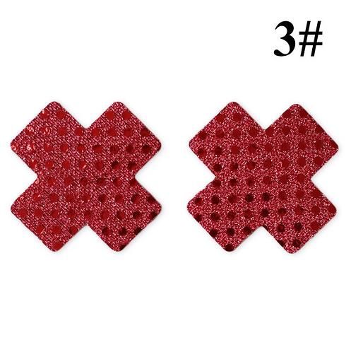 Sequin Cross Nipple Pasties - 1 x Pair