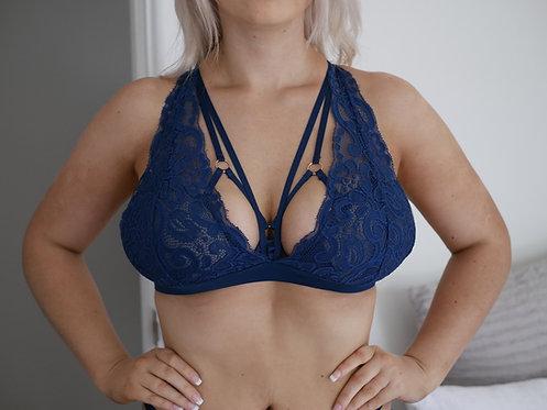 Rarr Designs Sapphire blue Aurora Lace Bra Front View