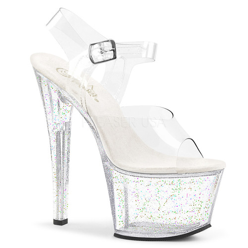 03fd7fa149 ... Pleaser Shoes SKY 308-MG Clear and Clear with Glitter Platform Heel  Sandals