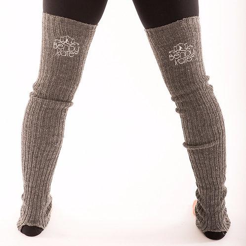 Bendy Kate Logo Leg Warmers Grey back View