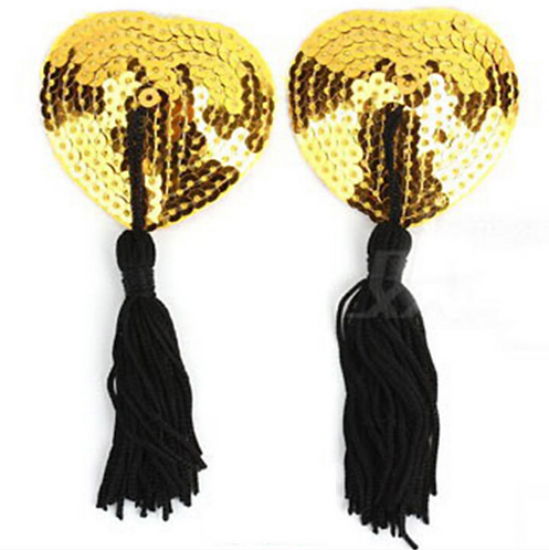 Gold Sequin Heart Nipple Tassel Pasties - 1 x Pair