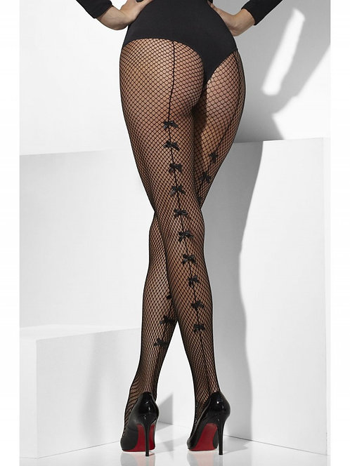 Fishnet Tights with Back Seams & Bow Detail