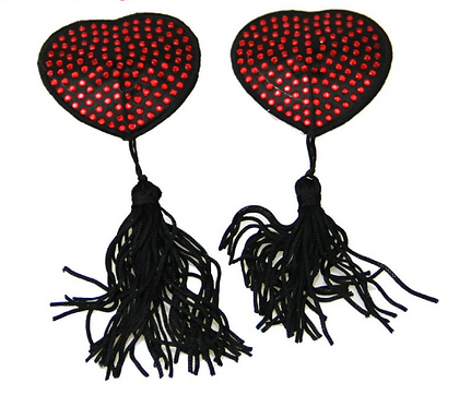 Black with Red Rhinestone Heart Nipple Tassel Pasties - 1 x Pair